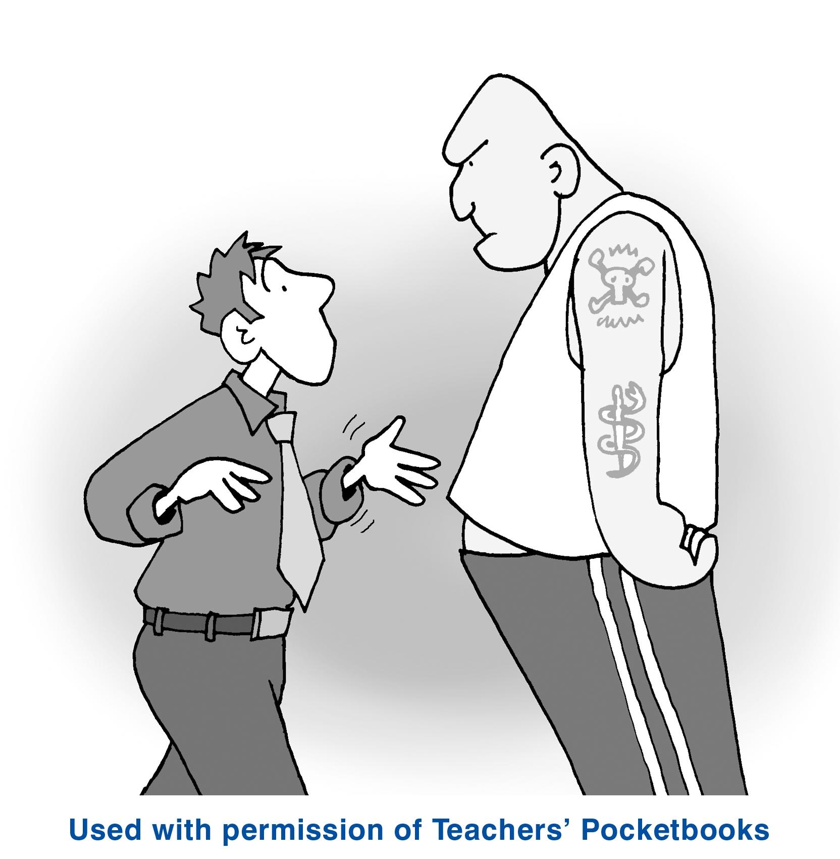 cartoon of aggressive parent with teacher